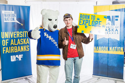 Future UAF students and family members pose with the Nanook mascot during Inside Out.  Filename: LIF-16-4839-84.jpg