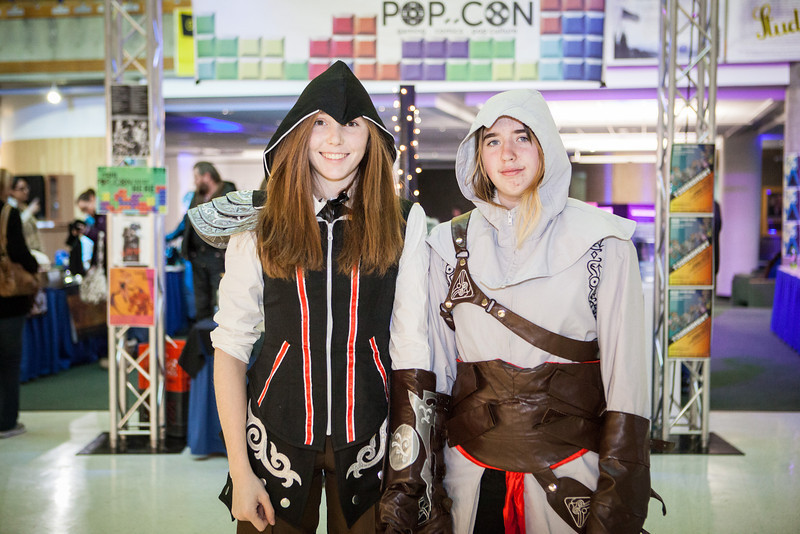 "Chelsea Roehl, left, and Elizabeth Enlow wear costumes at the third annual Pop Con event at the Wood Center Nov. 2012.  <div class=""ss-paypal-button"">Filename: LIF-12-3640-21.jpg</div><div class=""ss-paypal-button-end"" style=""""></div>"