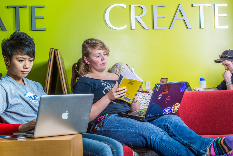 """Students mingle and study in the Nook computer lounge in the Bunnell Building on the Fairbanks campus.  <div class=""""ss-paypal-button"""">Filename: LIF-13-3987-25.jpg</div><div class=""""ss-paypal-button-end"""" style=""""""""></div>"""