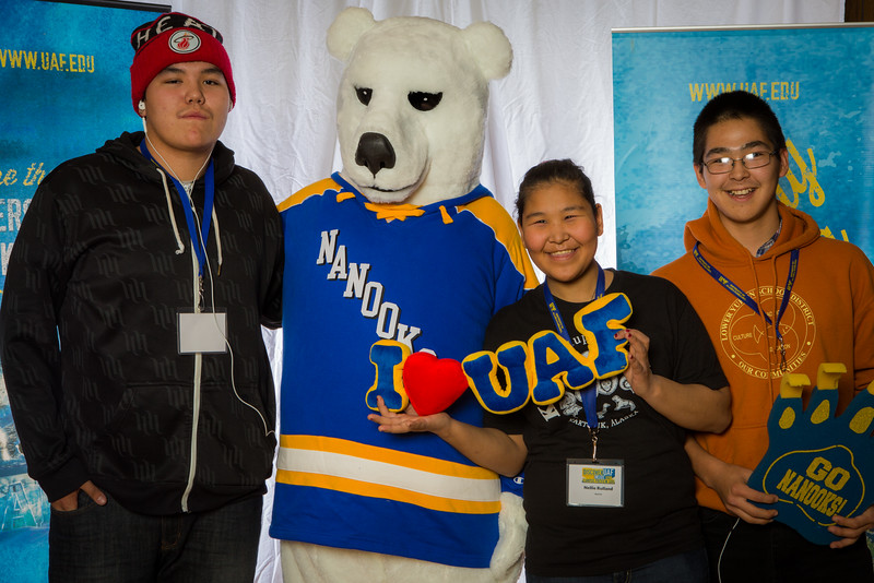 "Prospective students pose with the UAF mascot during the Fall 2015 Inside Out event hosted by UAF's office of admissions and the registrar.  <div class=""ss-paypal-button"">Filename: LIF-14-4353-21.jpg</div><div class=""ss-paypal-button-end""></div>"