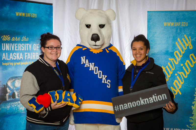 """Prospective students pose with the UAF mascot during the Fall 2015 Inside Out event hosted by UAF's office of admissions and the registrar.  <div class=""""ss-paypal-button"""">Filename: LIF-14-4353-25.jpg</div><div class=""""ss-paypal-button-end""""></div>"""