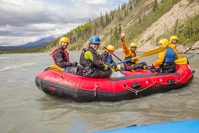 Students and staff members enjoy raft trip down the Nenana River led by UAF Outdoor Adventures in June, 2014.  Filename: OUT-14-4211-197.jpg