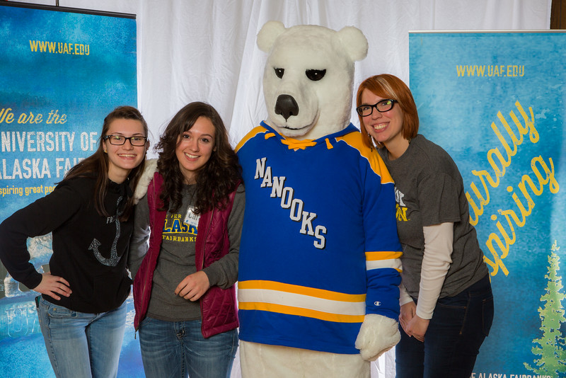 """Prospective students pose with admissions staff and the UAF mascot during the Fall 2015 Inside Out event hosted by UAF's office of admissions and the registrar.  <div class=""""ss-paypal-button"""">Filename: LIF-14-4353-3.jpg</div><div class=""""ss-paypal-button-end""""></div>"""