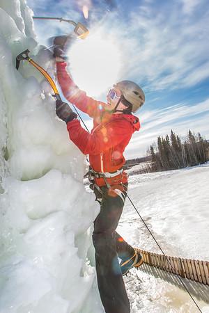 Engineering major Ryan Kudo enjoys a late season climb up the UAF ice wall on April 4.  Filename: LIF-14-4132-170.jpg