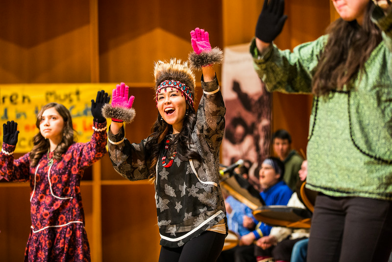 """Kelsey Wallace dances with the University of Alaska Fairbanks' Inu-Yupiak Dance Group during the 2014 Festival of Native Arts.  <div class=""""ss-paypal-button"""">Filename: LIF-14-4099-144.jpg</div><div class=""""ss-paypal-button-end""""></div>"""