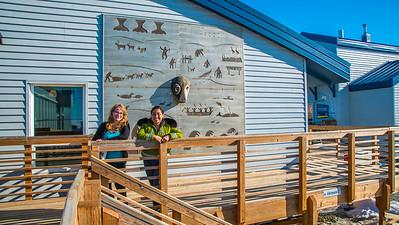 Students Alyssa Wols, left, and Marjorie Tahbone walk between buildings at UAF's Northwest Campus in Nome.  Filename: LIF-16-4865-254.jpg
