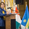 "UAF International Programs & Initiatives Director Donna Anger  welcomes new students from Ethiopia, Côte d'Ivoire, Papua New Guinea, Rwanda and Saudi Arabia at a flag dedication ceremony at the Friday, Nov. 16, 2012, at the Wood Center.  <div class=""ss-paypal-button"">Filename: LIF-12-3655-4.jpg</div><div class=""ss-paypal-button-end"" style=""""></div>"