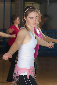 Katheryn Zimmerman learns how to middle eastern dance in one of the recreation classes offered at the student rec center on campus.  Filename: LIF-11-3194-54.jpg