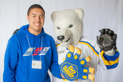 Future UAF students pose with the Nanook mascot during InsideOut.  Filename: LIF-12-3334-134.jpg