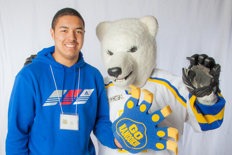 """Future UAF students pose with the Nanook mascot during InsideOut.  <div class=""""ss-paypal-button"""">Filename: LIF-12-3334-134.jpg</div><div class=""""ss-paypal-button-end"""" style=""""""""></div>"""