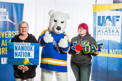 Future UAF students and family members pose with the Nanook mascot during Inside Out.  Filename: LIF-16-4839-85.jpg
