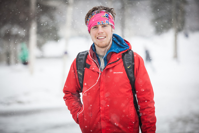 """Ross MacDougall poses for a photo during a late winter snow blankets campus on an April morning in 2013.  <div class=""""ss-paypal-button"""">Filename: LIF-13-3796-13.jpg</div><div class=""""ss-paypal-button-end"""" style=""""""""></div>"""