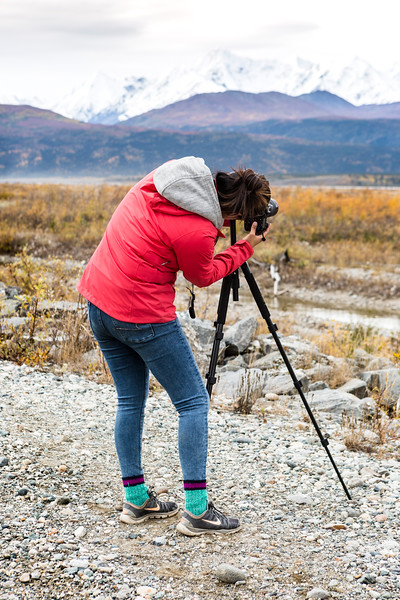 "Roberta Walker composes her shot of the mountains just south of Donnelly Dome on the Frozen Lenses Landscape Photography Workshop led by Baxter Bond on Saturday, Sept. 15, 2018.  <div class=""ss-paypal-button"">Filename: LIF-18-5931-61.jpg</div><div class=""ss-paypal-button-end""></div>"
