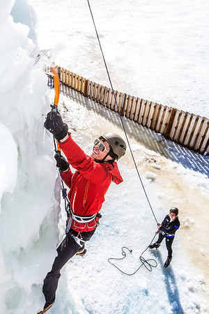 Engineering major Ryan Kudo enjoys a late season climb up the UAF ice wall on April 4.  Filename: LIF-14-4132-143.jpg