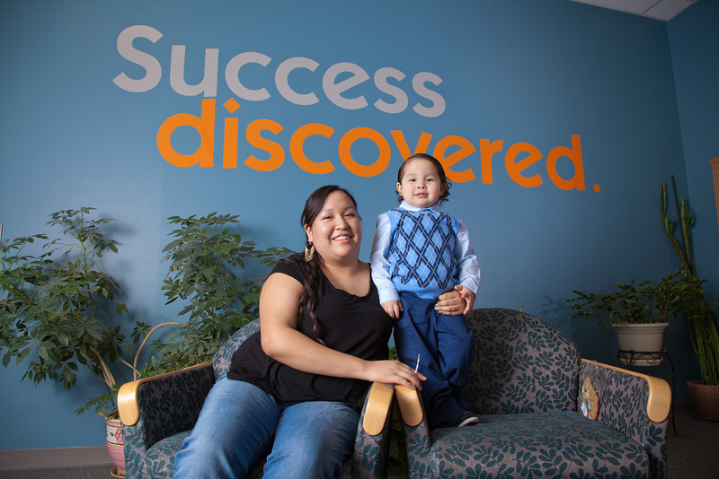 "Susan Dayton, winner of the 2012 Ruth Lister Memorial Scholarship, poses with her son Braydon in the student gathering lounge at the Community and Technical College.  <div class=""ss-paypal-button"">Filename: LIF-11-3254-51.jpg</div><div class=""ss-paypal-button-end"" style=""""></div>"