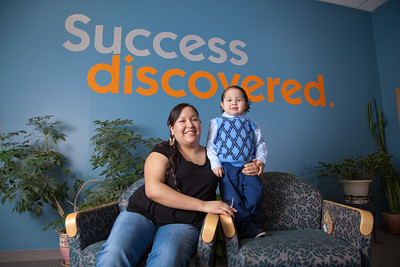 Susan Dayton, winner of the 2012 Ruth Lister Memorial Scholarship, poses with her son Braydon in the student gathering lounge at the Community and Technical College.  Filename: LIF-11-3254-51.jpg