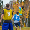 """Mechanical engineering major Adam McCombs makes a leaping catch during a bout of utlimate frisbee in the field near the University of Alaska's Museum of the North on a fall afternoon.  <div class=""""ss-paypal-button"""">Filename: LIF-12-3557-158.jpg</div><div class=""""ss-paypal-button-end"""" style=""""""""></div>"""
