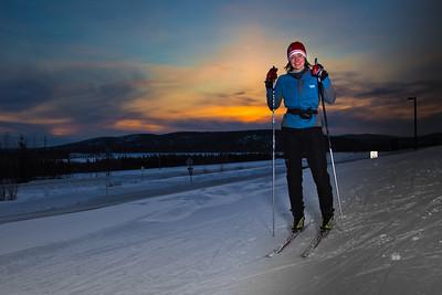Freshman Michelle Klaben enjoys a trek on the UAF trails on a February afternoon.  Filename: LIF-12-3307-08.jpg