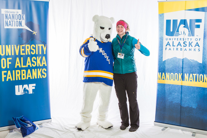 "Future UAF students and family members pose with the Nanook mascot during Inside Out.  <div class=""ss-paypal-button"">Filename: LIF-16-4839-60.jpg</div><div class=""ss-paypal-button-end""></div>"