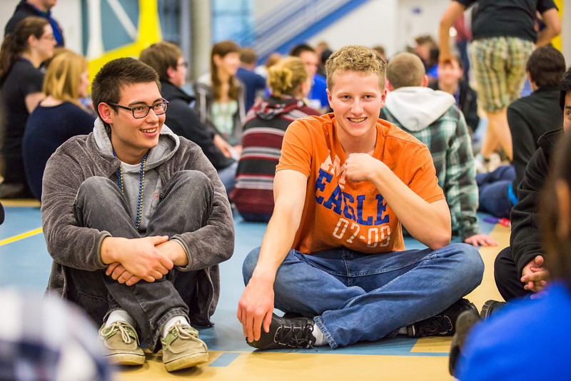 """Lee Kempf, right, shares his story as Joseph Gregg-Bozzini and other group members listens during the last event of New Student Orientation at the Student Rec. Center.  <div class=""""ss-paypal-button"""">Filename: LIF-13-3924-164.jpg</div><div class=""""ss-paypal-button-end"""" style=""""""""></div>"""