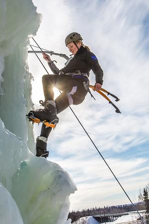 Engineering major Heather Edic enjoys a late season climb up the UAF ice wall on April 4.  Filename: LIF-14-4132-24.jpg