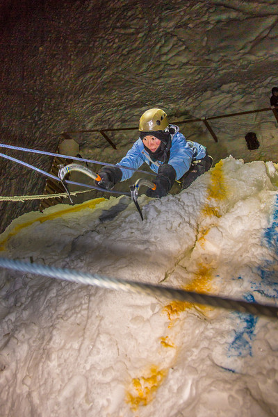 "A climber approaches the top of the tower during the ice climbing competition, offered as part of the 2014 UAF Winter Carnival.  <div class=""ss-paypal-button"">Filename: LIF-14-4084-101.jpg</div><div class=""ss-paypal-button-end"" style=""""></div>"