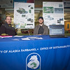 "Wyatt Hurlbut, left, and Brett Parks, board members for UAF's Office of Sustainability, solicit input into a proposed super energy efficient ""sustainable village""  under consideration for construction on the Fairbanks campus.  <div class=""ss-paypal-button"">Filename: LIF-11-3214-05.jpg</div><div class=""ss-paypal-button-end"" style=""""></div>"