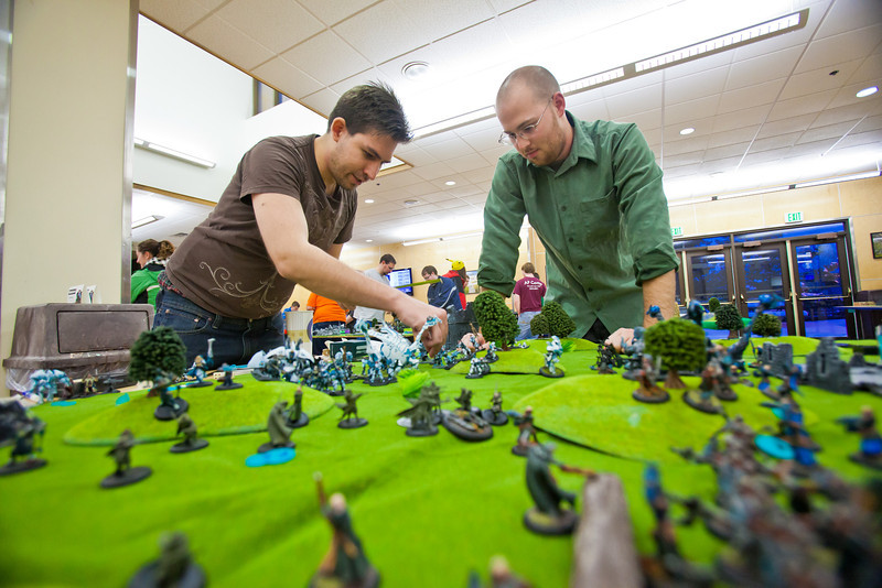 """Attendees of the PopCon weekend event in UAF's Wood Center participated in a Warmachine tournament.  <div class=""""ss-paypal-button"""">Filename: LIF-11-3218-082.jpg</div><div class=""""ss-paypal-button-end"""" style=""""""""></div>"""