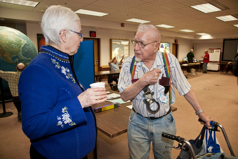 """Associate Professor Judy Triplehorn talks about patents with 96 year old Alaska inventor Ed Ashby.  <div class=""""ss-paypal-button"""">Filename: LIF-12-3280-60.jpg</div><div class=""""ss-paypal-button-end"""" style=""""""""></div>"""