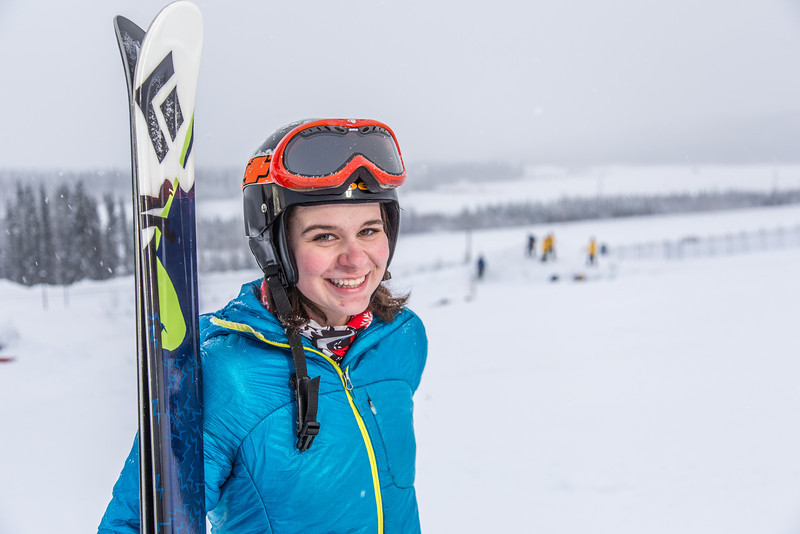 """Outdoor enthusiast Michelle Klaben takes her skis out on the UAF Terrain Park on a snowy afternoon.  <div class=""""ss-paypal-button"""">Filename: LIF-13-3721-176.jpg</div><div class=""""ss-paypal-button-end"""" style=""""""""></div>"""