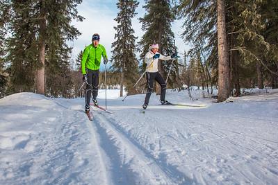 UAF students Ian Wilkinson and Raphaela Sieber enjoy a morning loop around the campus ski trails.  Filename: LIF-12-3348-11.jpg