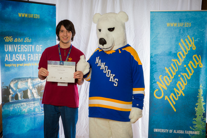 """Prospective students pose with the UAF mascot during the Fall 2015 Inside Out event hosted by UAF's office of admissions and the registrar.  <div class=""""ss-paypal-button"""">Filename: LIF-14-4353-72.jpg</div><div class=""""ss-paypal-button-end""""></div>"""
