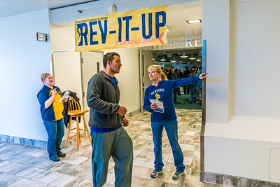 Returning students, staff and parents all pitch in to help new arrivals move into the residence halls during Rev It Up on the Fairbanks campus at the beginning of the fall 2015 semester.  Filename: LIF-15-4637-82.jpg