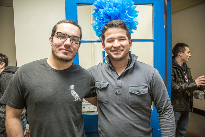 """Henrique Fiche, left, and Eduaurdo Lobo, exchange students studying petroleum engineering at UAF from Brazil, got together during an open house at the International Programs office in the Eielson Building.  <div class=""""ss-paypal-button"""">Filename: LIF-13-3698-12.jpg</div><div class=""""ss-paypal-button-end"""" style=""""""""></div>"""