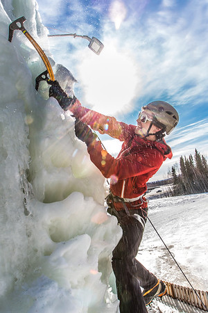 Engineering major Ryan Kudo enjoys a late season climb up the UAF ice wall on April 4.  Filename: LIF-14-4132-173.jpg