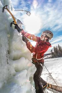 Engineering major Ryan Kudo enjoys a late season climb up the UAF ice wall on April 4.  Filename: LIF-14-4132-173.jpg