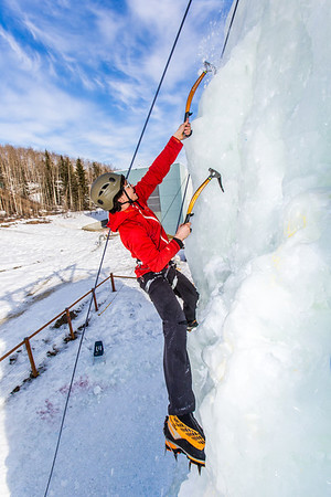 Engineering major Ryan Kudo enjoys a late season climb up the UAF ice wall on April 4.  Filename: LIF-14-4132-121.jpg