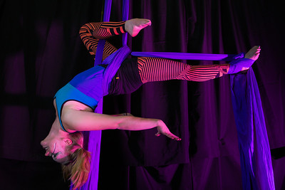 Teal Rogers is an active member of the silk club at UAF, in which members perform acrobatic stunts hanging from silks.  Filename: LIF-14-4133-243.jpg