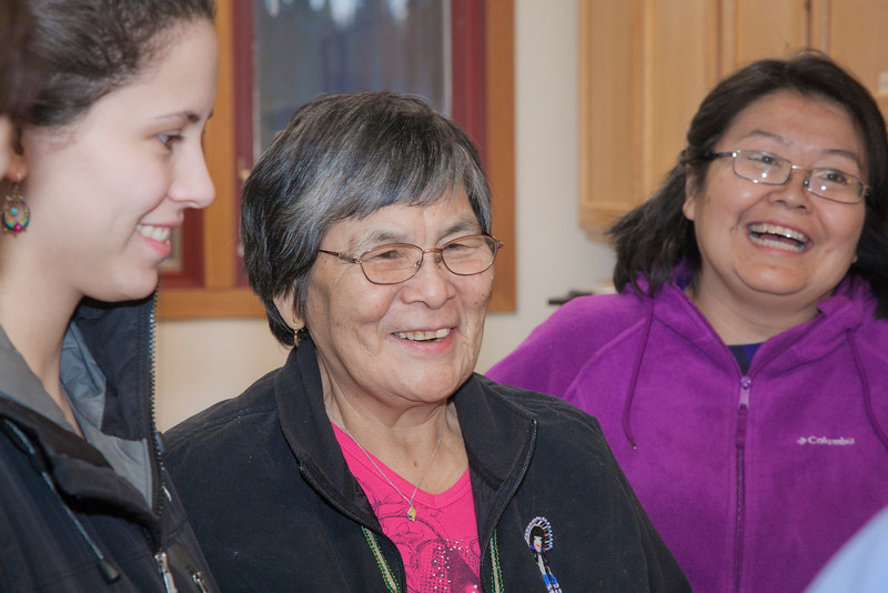 """Margie Attla (center) talks about cooking reindeer meat with the other members of her class on native nutrition held by UAF Rural Nutrition Services (RNS).  <div class=""""ss-paypal-button"""">Filename: LIF-12-3278-45.jpg</div><div class=""""ss-paypal-button-end"""" style=""""""""></div>"""