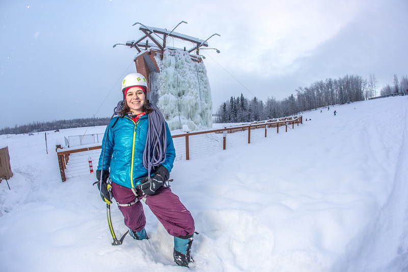"""Outdoor enthusiast Michelle Klaben gets ready to tackle the ice climbing wall which is part of UAF's Terrain Park on a snowy afternoon.  <div class=""""ss-paypal-button"""">Filename: LIF-13-3721-259.jpg</div><div class=""""ss-paypal-button-end"""" style=""""""""></div>"""