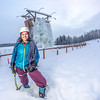 "Outdoor enthusiast Michelle Klaben gets ready to tackle the ice climbing wall which is part of UAF's Terrain Park on a snowy afternoon.  <div class=""ss-paypal-button"">Filename: LIF-13-3721-259.jpg</div><div class=""ss-paypal-button-end"" style=""""></div>"