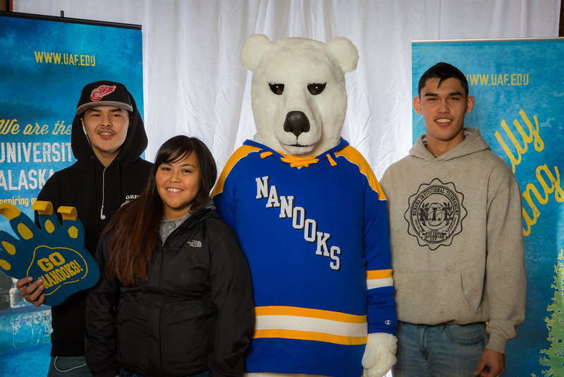 """Prospective students pose with the UAF mascot during the Fall 2015 Inside Out event hosted by UAF's office of admissions and the registrar.  <div class=""""ss-paypal-button"""">Filename: LIF-14-4353-15.jpg</div><div class=""""ss-paypal-button-end""""></div>"""