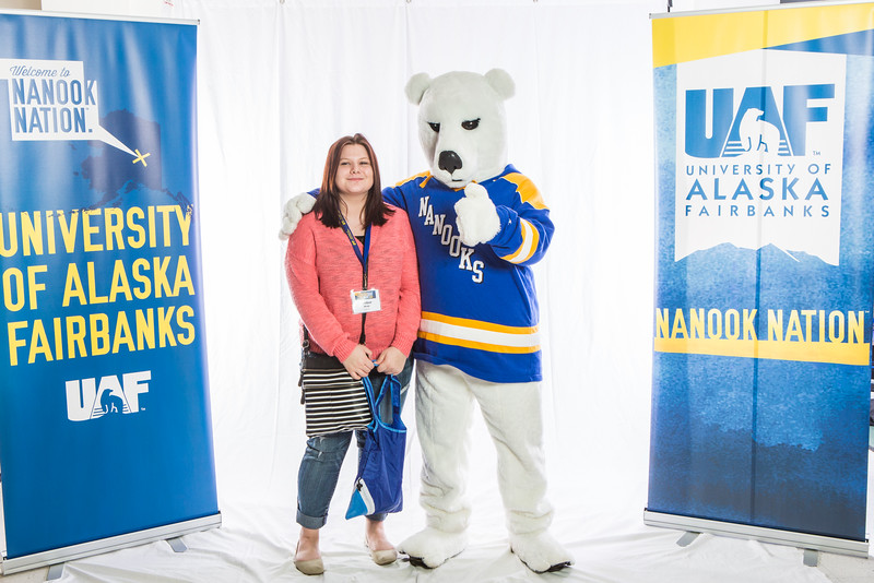 "Future UAF students and family members pose with the Nanook mascot during Inside Out.  <div class=""ss-paypal-button"">Filename: LIF-16-4839-58.jpg</div><div class=""ss-paypal-button-end""></div>"