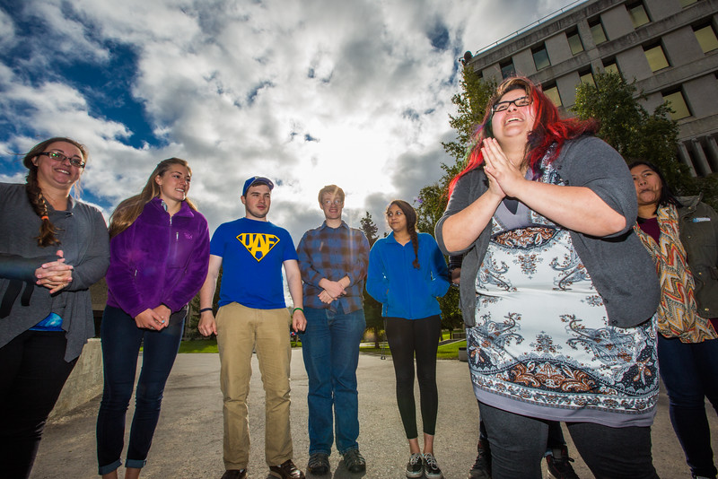 """UAF Orientation Leaders engage in team building exercises before students arrive on campus before the start of the fall 2015 semester.  <div class=""""ss-paypal-button"""">Filename: LIF-15-4635-011.jpg</div><div class=""""ss-paypal-button-end""""></div>"""