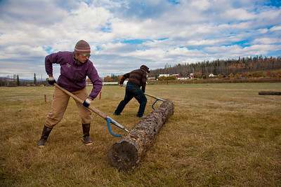 Students Imuya Dooley and  Benjamin McDaniel participated in the 2011 Farthest North Forest Sports Festival hosted by the UAF School of Natural Resources & Agricultural Sciences.  Filename: LIF-11-3185-72.jpg