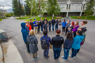 UAF Orientation Leaders engage in team building exercises before students arrive on campus before the start of the fall 2015 semester.  Filename: LIF-15-4635-034.jpg