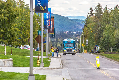 Pedestrians walk up and down Tanana Loop on the first day of the 2013 fall semester.  Filename: LIF-13-3928-249.jpg