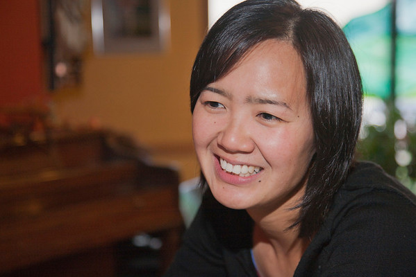 """Australian UAF student May-Le Ng being interviewed at the College Coffee House for an article being written about foreigners who chose to migrate to Alaska.  <div class=""""ss-paypal-button"""">Filename: LIF-11-3202-066.jpg</div><div class=""""ss-paypal-button-end"""" style=""""""""></div>"""