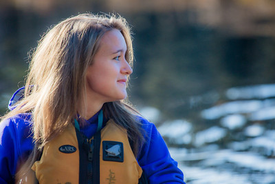 Business major Shelby Carlson enjoys a morning paddle on Ballaine Lake.  Filename: LIF-12-3562-074.jpg