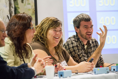 Graduate students Benjamin Rance, right, and Shelley Cotton battle against their professors, Alexandra Oliviera and Stephen Sparrow in a friendly game of Jeopardy during UAF's Food Day in mid-October at the Wood Center.  Filename: LIF-12-3590-65.jpg